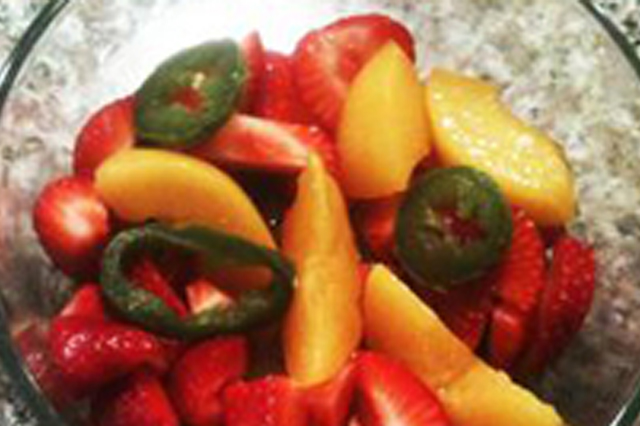 Berries, peaches, jalapeno pepper salad